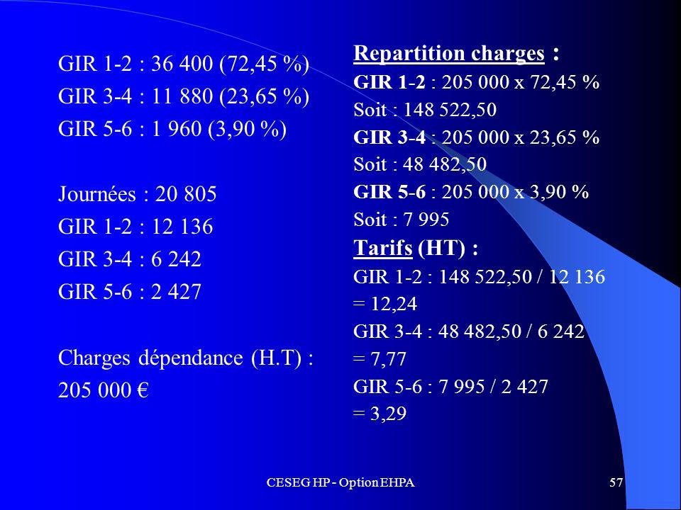 CESEG HP - Option EHPA57 GIR 1-2 : 36 400 (72,45 %) GIR 3-4 : 11 880 (23,65 %) GIR 5-6 : 1 960 (3,90 %) Journées : 20 805 GIR 1-2 : 12 136 GIR 3-4 : 6