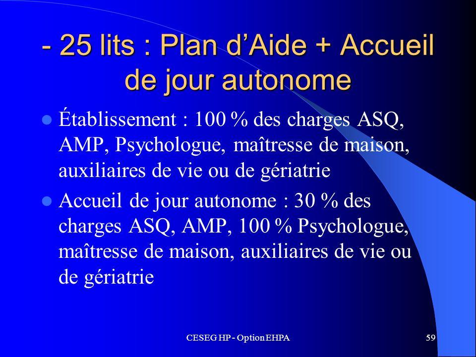 CESEG HP - Option EHPA59 - 25 lits : Plan dAide + Accueil de jour autonome Établissement : 100 % des charges ASQ, AMP, Psychologue, maîtresse de maiso
