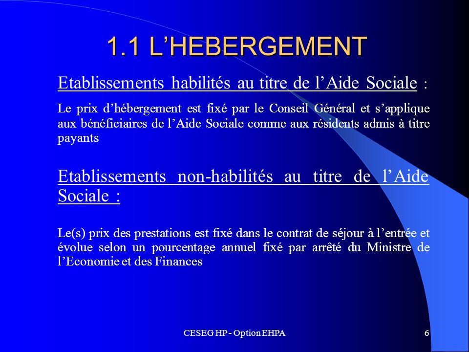 CESEG HP - Option EHPA6 1.1 LHEBERGEMENT Etablissements habilités au titre de lAide Sociale : Le prix dhébergement est fixé par le Conseil Général et