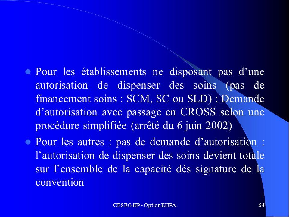 CESEG HP - Option EHPA64 Pour les établissements ne disposant pas dune autorisation de dispenser des soins (pas de financement soins : SCM, SC ou SLD)