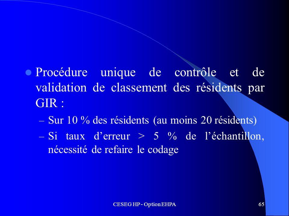 CESEG HP - Option EHPA65 Procédure unique de contrôle et de validation de classement des résidents par GIR : – Sur 10 % des résidents (au moins 20 rés