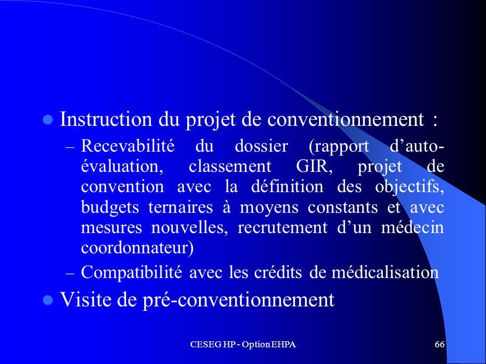 CESEG HP - Option EHPA66 Instruction du projet de conventionnement : – Recevabilité du dossier (rapport dauto- évaluation, classement GIR, projet de c