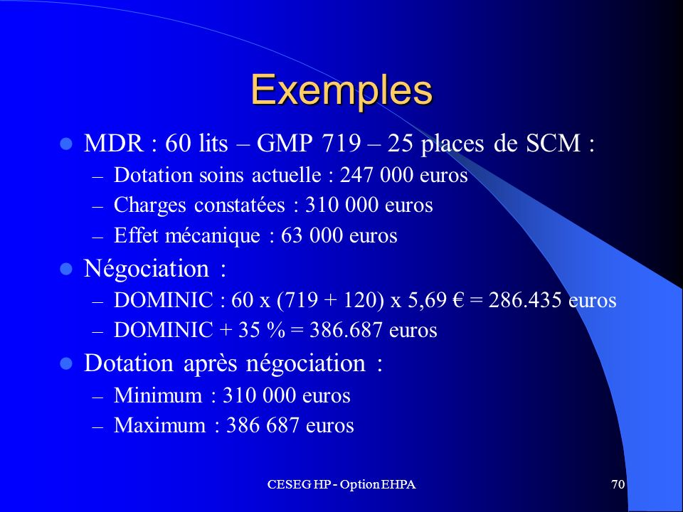 CESEG HP - Option EHPA70 Exemples MDR : 60 lits – GMP 719 – 25 places de SCM : – Dotation soins actuelle : 247 000 euros – Charges constatées : 310 00