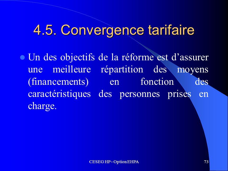 CESEG HP - Option EHPA73 4.5. Convergence tarifaire Un des objectifs de la réforme est dassurer une meilleure répartition des moyens (financements) en