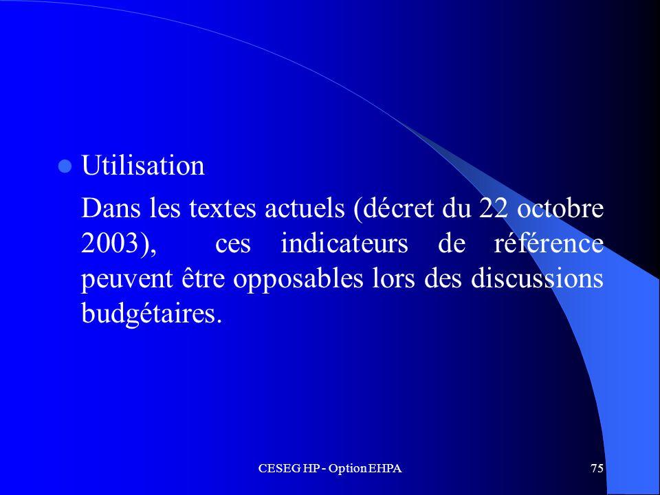 CESEG HP - Option EHPA75 Utilisation Dans les textes actuels (décret du 22 octobre 2003), ces indicateurs de référence peuvent être opposables lors de