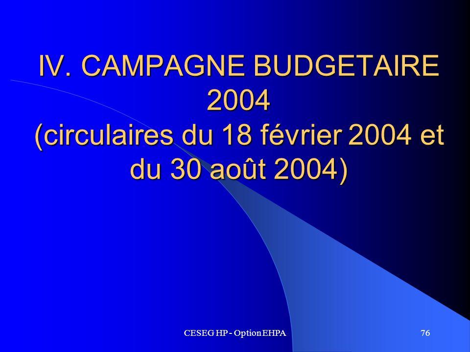 CESEG HP - Option EHPA76 IV. CAMPAGNE BUDGETAIRE 2004 (circulaires du 18 février 2004 et du 30 août 2004)