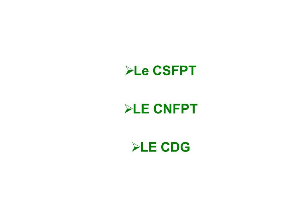 Le CSFPT LE CNFPT LE CDG