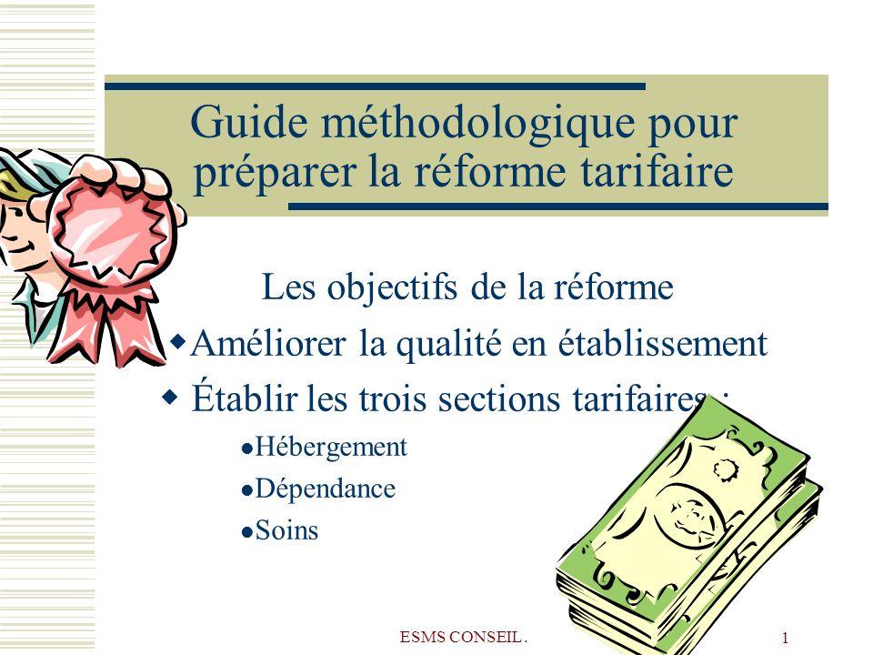 ESMS CONSEIL. 1 Guide méthodologique pour préparer la réforme tarifaire Les objectifs de la réforme Améliorer la qualité en établissement Établir les