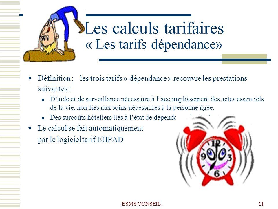 ESMS CONSEIL.11 Les calculs tarifaires « Les tarifs dépendance» Définition : les trois tarifs « dépendance » recouvre les prestations suivantes : Daid