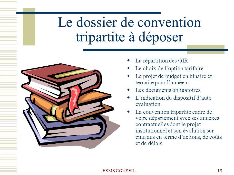 ESMS CONSEIL.19 Le dossier de convention tripartite à déposer La répartition des GIR Le choix de loption tarifaire Le projet de budget en binaire et t