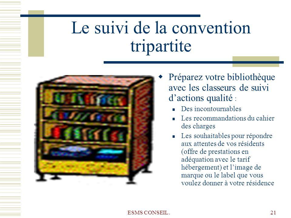 ESMS CONSEIL.21 Le suivi de la convention tripartite Préparez votre bibliothèque avec les classeurs de suivi dactions qualité : Des incontournables Le