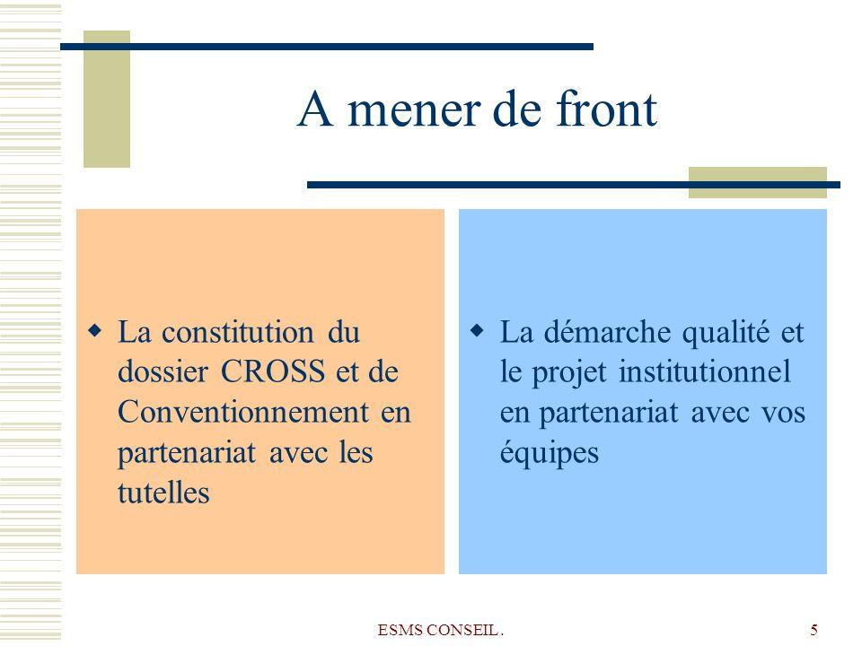 ESMS CONSEIL.5 A mener de front La constitution du dossier CROSS et de Conventionnement en partenariat avec les tutelles La démarche qualité et le pro