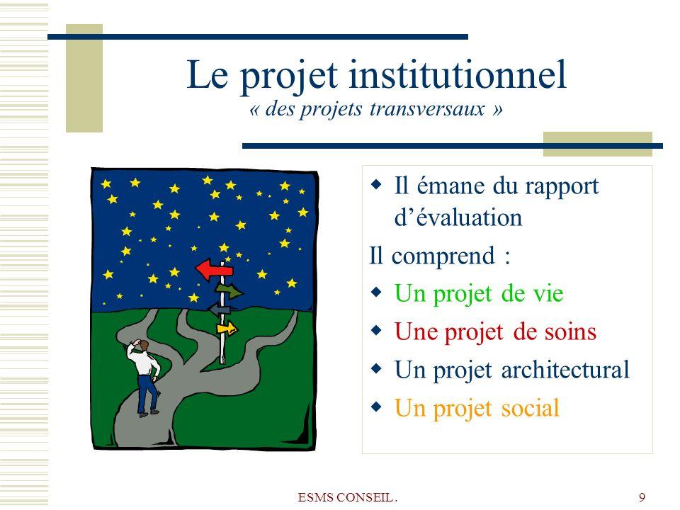 ESMS CONSEIL.9 Le projet institutionnel « des projets transversaux » Il émane du rapport dévaluation Il comprend : Un projet de vie Une projet de soin