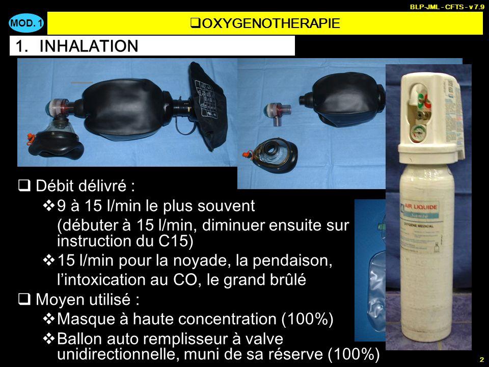 MOD. 1 BLP-JML - CFTS - v 7.9 2 Enrichir en oxygène le mélange respiré spontanément par un patient Toute détresse vitale (détresse respiratoire, détre