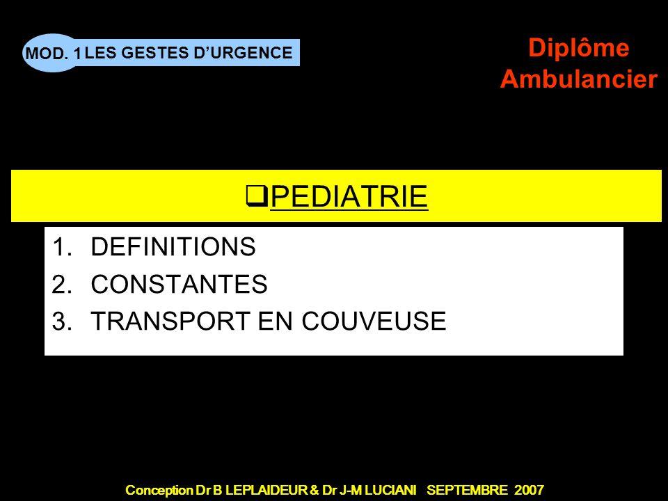 Conception Dr B LEPLAIDEUR & Dr J-M LUCIANI SEPTEMBRE 2007 LES GESTES DURGENCE MOD. 1 Diplôme Ambulancier TITRE DE CHAPITRE PEDIATRIE 1.DEFINITIONS 2.