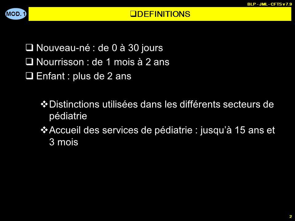 MOD. 1 BLP - JML - CFTS v 7.9 2 Nouveau-né : de 0 à 30 jours Nourrisson : de 1 mois à 2 ans Enfant : plus de 2 ans Distinctions utilisées dans les dif