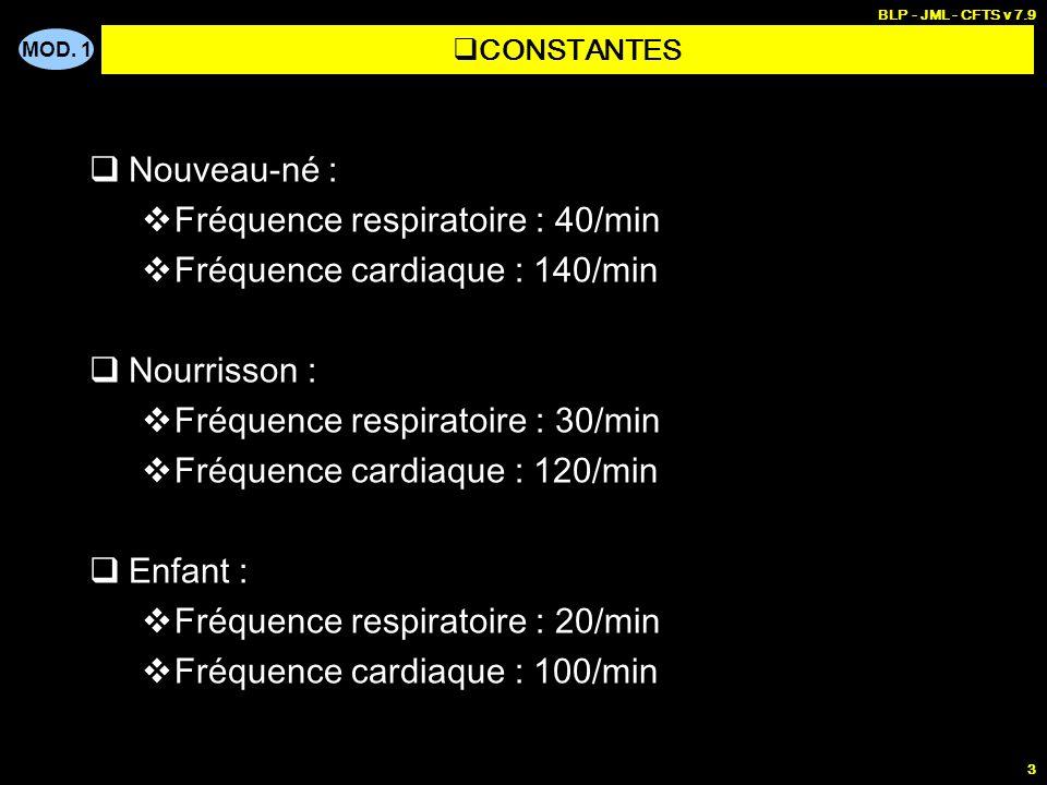 MOD. 1 BLP - JML - CFTS v 7.9 3 Nouveau-né : Fréquence respiratoire : 40/min Fréquence cardiaque : 140/min Nourrisson : Fréquence respiratoire : 30/mi