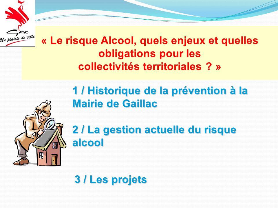 1 / Historique de la prévention à la Mairie de Gaillac 2 / La gestion actuelle du risque alcool 3 / Les projets « Le risque Alcool, quels enjeux et quelles obligations pour les collectivités territoriales .