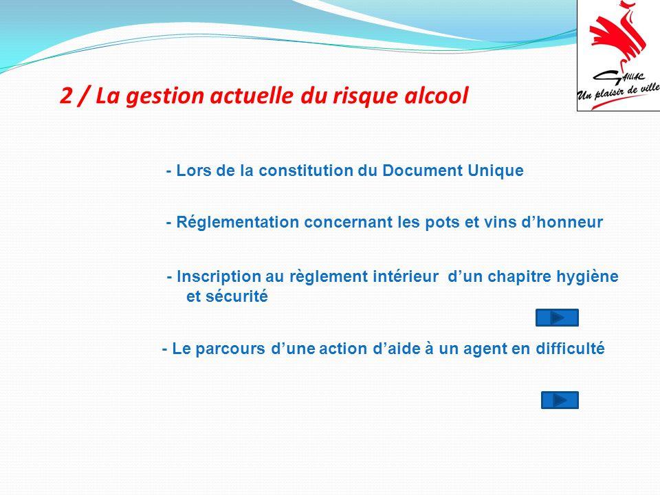 2 / La gestion actuelle du risque alcool - Lors de la constitution du Document Unique - Inscription au règlement intérieur dun chapitre hygiène et séc