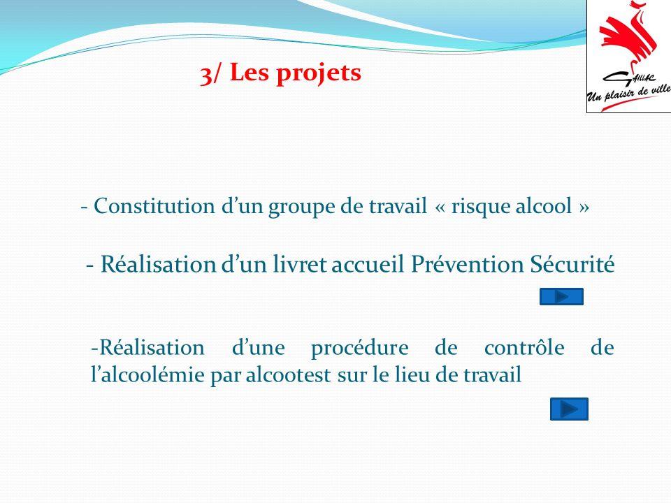 3/ Les projets - Constitution dun groupe de travail « risque alcool » - Réalisation dun livret accueil Prévention Sécurité -Réalisation dune procédure de contrôle de lalcoolémie par alcootest sur le lieu de travail