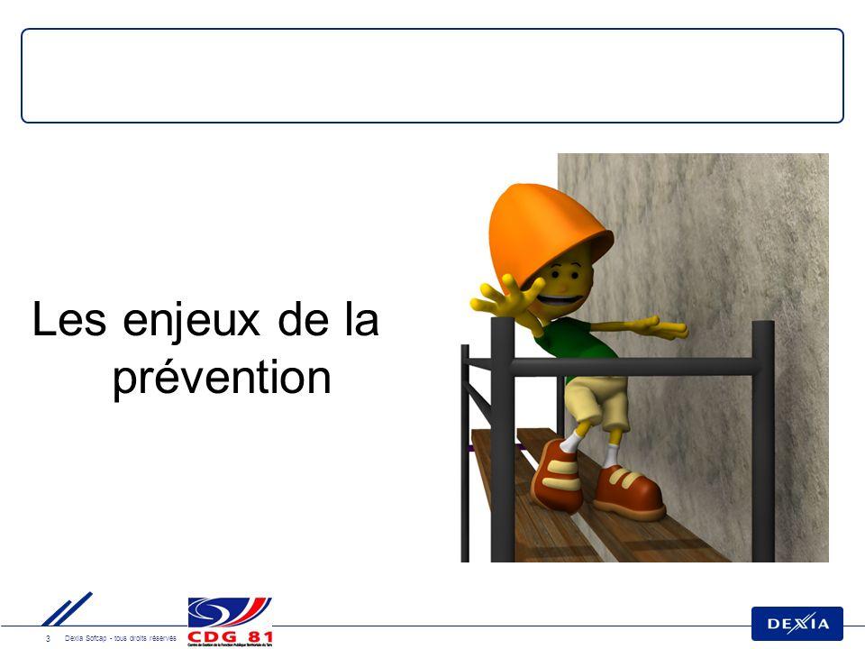4 Dexia Sofcap - tous droits réservés La prévention: un enjeu humain Éviter des souffrances inutiles Améliorer les conditions de travail des agents Réduire le nombre et la durée des accidents et maladies professionnelles