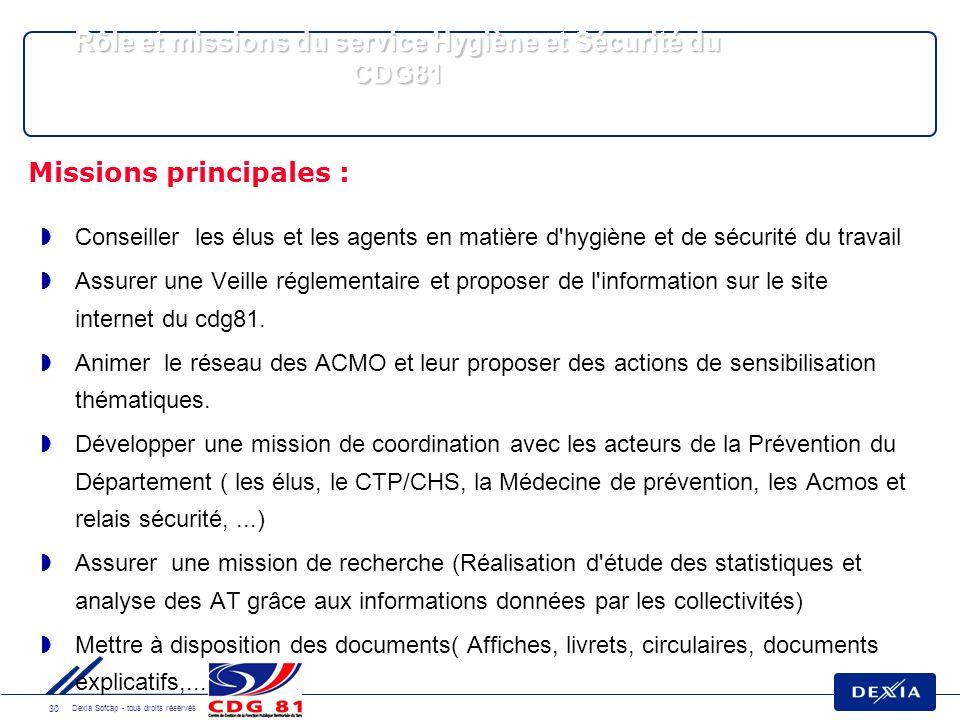 30 Dexia Sofcap - tous droits réservés Conseiller les élus et les agents en matière d hygiène et de sécurité du travail Assurer une Veille réglementaire et proposer de l information sur le site internet du cdg81.