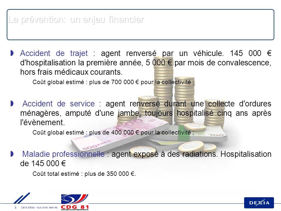 6 Dexia Sofcap - tous droits réservés La prévention: un enjeu financier Accident de trajet : agent renversé par un véhicule.