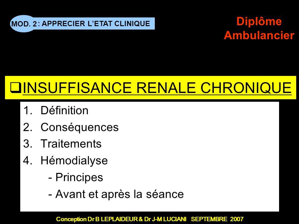 : APPRECIER LETAT CLINIQUE Conception Dr B LEPLAIDEUR & Dr J-M LUCIANI SEPTEMBRE 2007 MOD. 2 Diplôme Ambulancier TITRE DE CHAPITRE INSUFFISANCE RENALE
