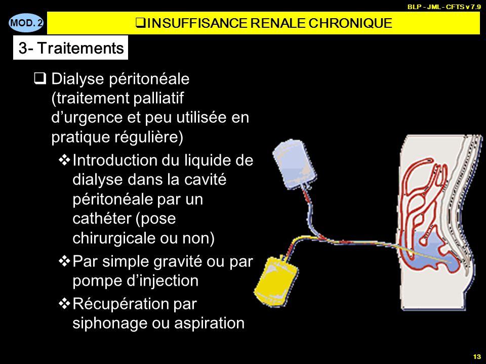MOD. 2 BLP - JML - CFTS v 7.9 13 Dialyse péritonéale (traitement palliatif durgence et peu utilisée en pratique régulière) Introduction du liquide de