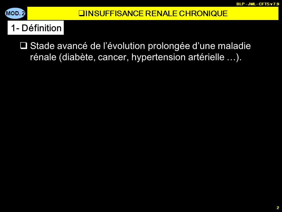 MOD. 2 BLP - JML - CFTS v 7.9 2 Stade avancé de lévolution prolongée dune maladie rénale (diabète, cancer, hypertension artérielle …). INSUFFISANCE RE