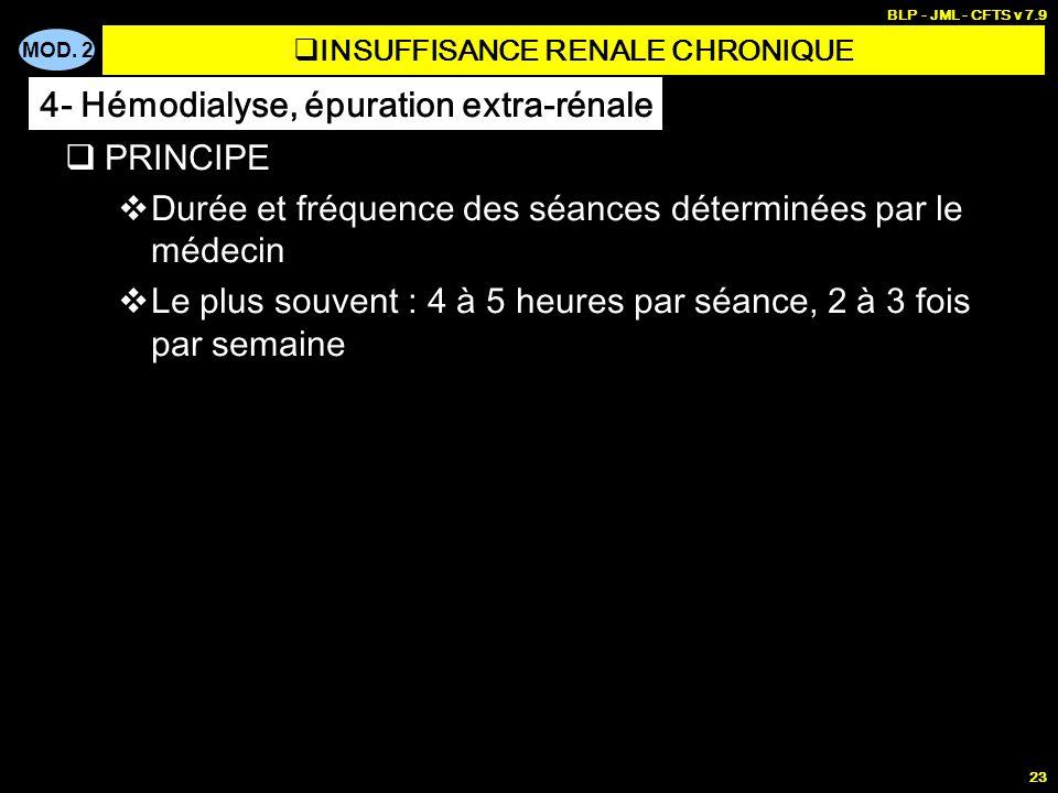 MOD. 2 BLP - JML - CFTS v 7.9 23 PRINCIPE Durée et fréquence des séances déterminées par le médecin Le plus souvent : 4 à 5 heures par séance, 2 à 3 f