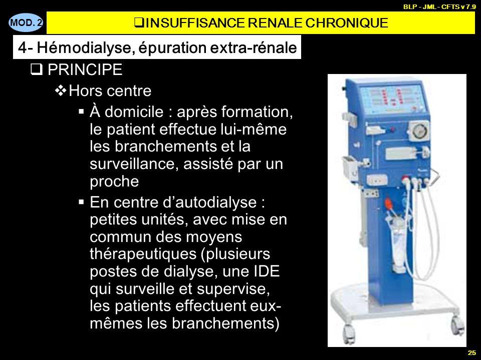 MOD. 2 BLP - JML - CFTS v 7.9 25 PRINCIPE Hors centre À domicile : après formation, le patient effectue lui-même les branchements et la surveillance,