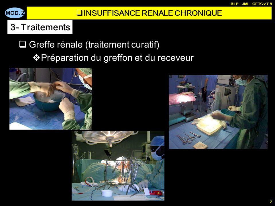 MOD. 2 BLP - JML - CFTS v 7.9 7 Greffe rénale (traitement curatif) Préparation du greffon et du receveur INSUFFISANCE RENALE CHRONIQUE 3- Traitements