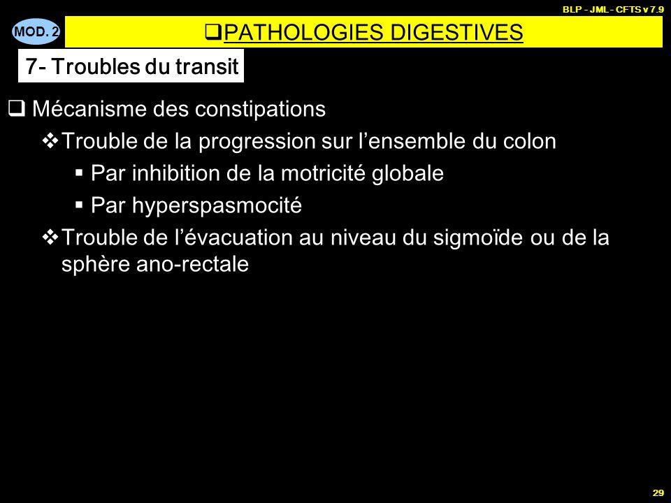 MOD. 2 BLP - JML - CFTS v 7.9 29 Mécanisme des constipations Trouble de la progression sur lensemble du colon Par inhibition de la motricité globale P