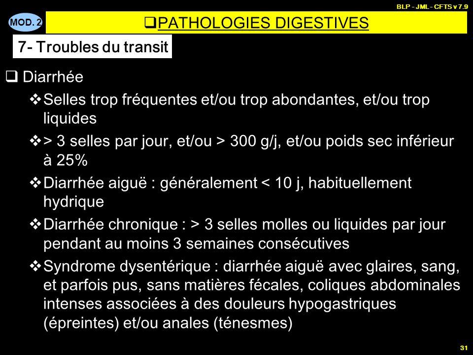 MOD. 2 BLP - JML - CFTS v 7.9 31 Diarrhée Selles trop fréquentes et/ou trop abondantes, et/ou trop liquides > 3 selles par jour, et/ou > 300 g/j, et/o