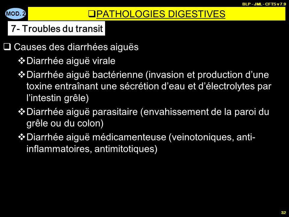 MOD. 2 BLP - JML - CFTS v 7.9 32 Causes des diarrhées aiguës Diarrhée aiguë virale Diarrhée aiguë bactérienne (invasion et production dune toxine entr
