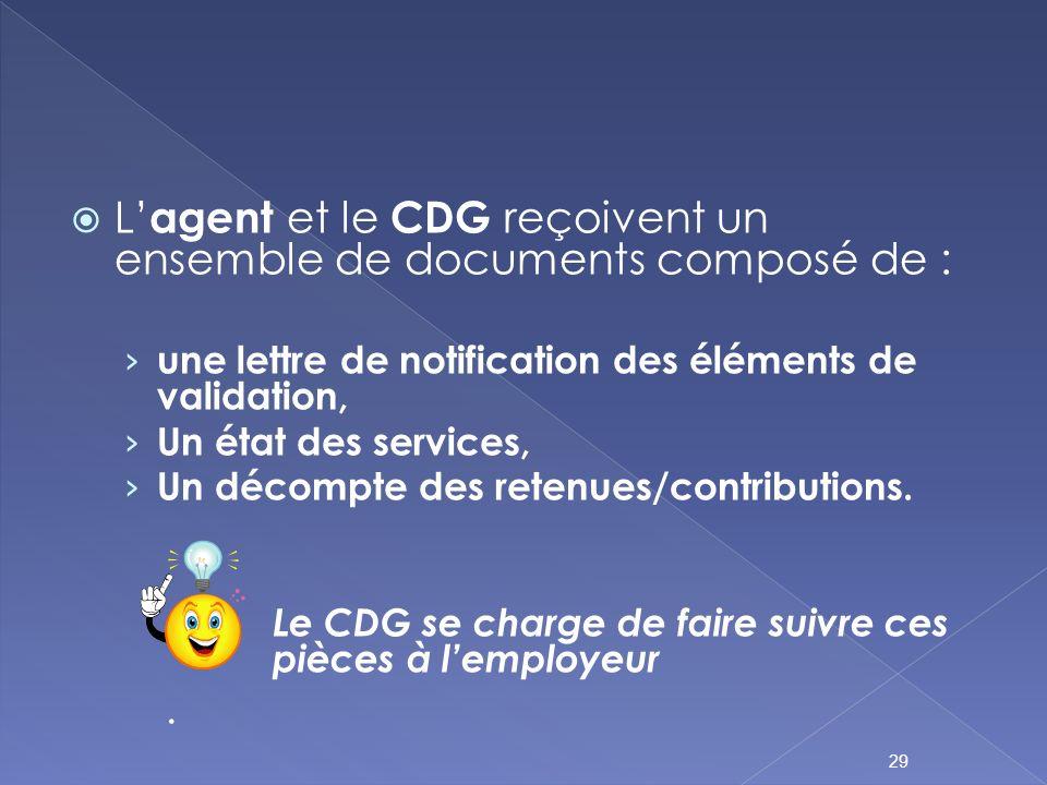 L agent et le CDG reçoivent un ensemble de documents composé de : une lettre de notification des éléments de validation, Un état des services, Un déco