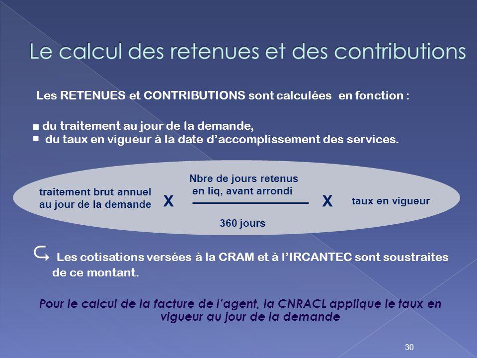 Les RETENUES et CONTRIBUTIONS sont calculées en fonction : du traitement au jour de la demande, du taux en vigueur à la date daccomplissement des serv