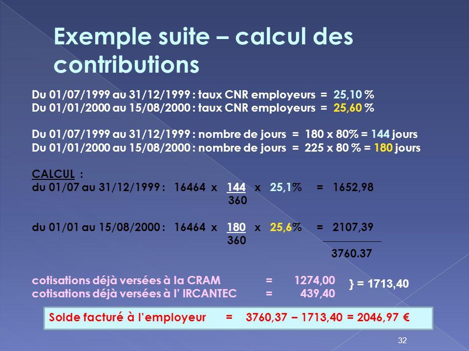 Du 01/07/1999 au 31/12/1999 : taux CNR employeurs = 25,10 % Du 01/01/2000 au 15/08/2000 : taux CNR employeurs = 25,60 % Du 01/07/1999 au 31/12/1999 :