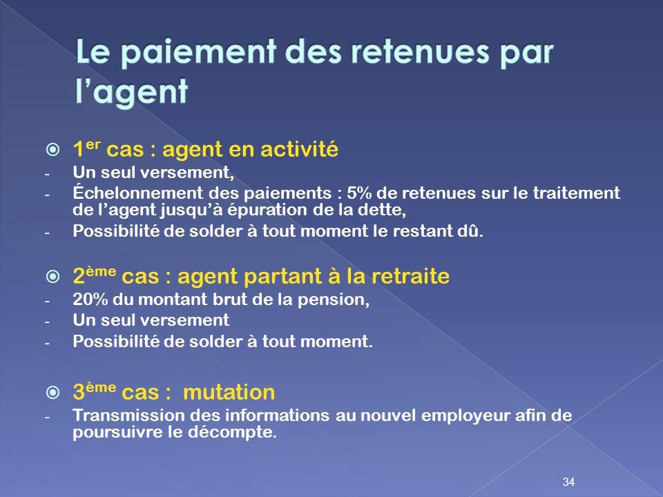 1 er cas : agent en activité - Un seul versement, - Échelonnement des paiements : 5% de retenues sur le traitement de lagent jusquà épuration de la de