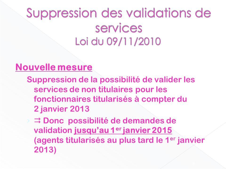 Nouvelle mesure Suppression de la possibilité de valider les services de non titulaires pour les fonctionnaires titularisés à compter du 2 janvier 201