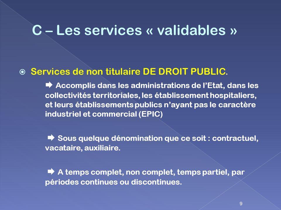 Services de non titulaire DE DROIT PUBLIC. Accomplis dans les administrations de lEtat, dans les collectivités territoriales, les établissement hospit