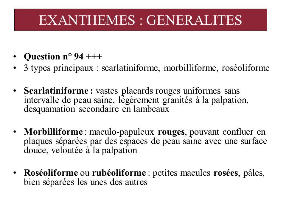 DIAGNOSTIC ETIOLOGIQUE Chez lenfant : viroses +++, toxidermie Chez ladulte : viroses, toxidermie, maladies sexuellement transmissibles.