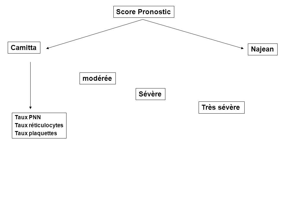 Score Pronostic Camitta Najean Taux PNN Taux réticulocytes Taux plaquettes modérée Sévère Très sévère