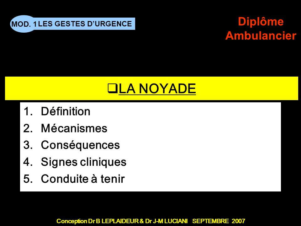 Conception Dr B LEPLAIDEUR & Dr J-M LUCIANI SEPTEMBRE 2007 LES GESTES DURGENCE MOD. 1 Diplôme Ambulancier TITRE DE CHAPITRE LA NOYADE 1.Définition 2.M