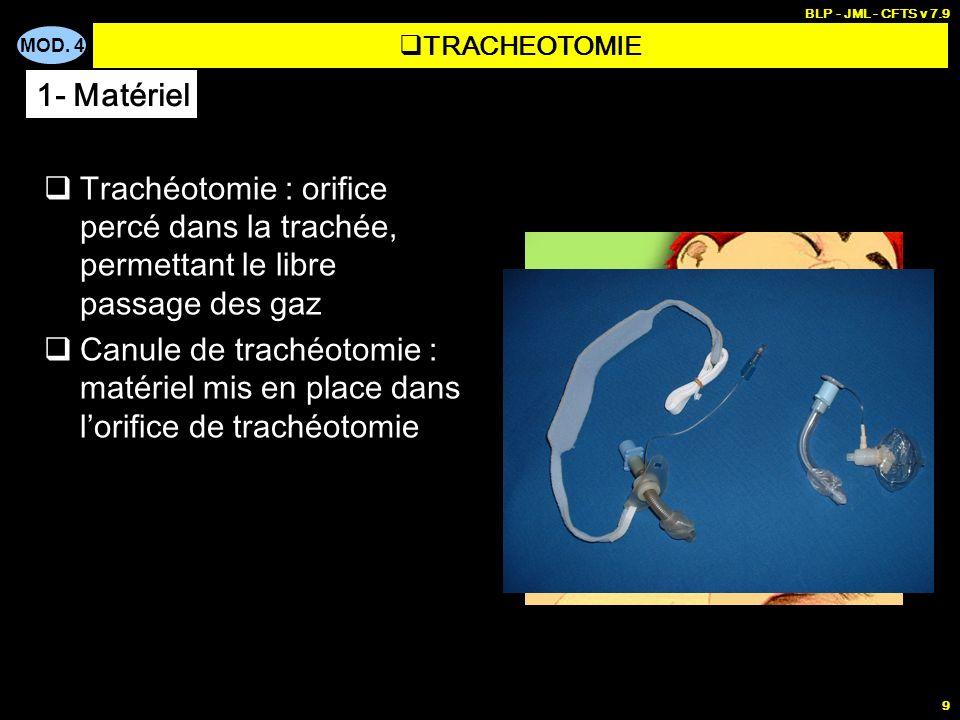 MOD. 4 BLP - JML - CFTS v 7.9 9 Trachéotomie : orifice percé dans la trachée, permettant le libre passage des gaz Canule de trachéotomie : matériel mi