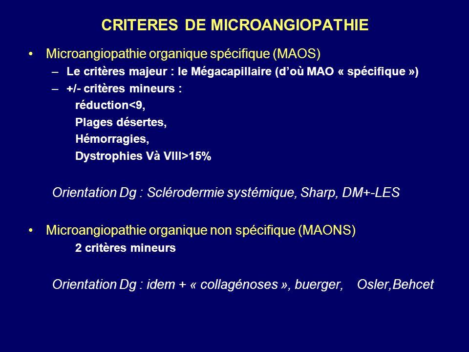 CRITERES DE MICROANGIOPATHIE Microangiopathie organique spécifique (MAOS) –Le critères majeur : le Mégacapillaire (doù MAO « spécifique ») –+/- critèr