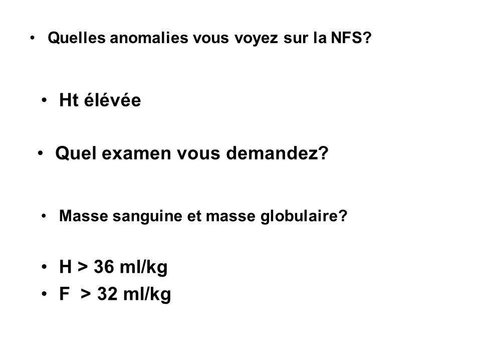 Quelles anomalies vous voyez sur la NFS? Ht élévée Quel examen vous demandez? Masse sanguine et masse globulaire? H > 36 ml/kg F > 32 ml/kg