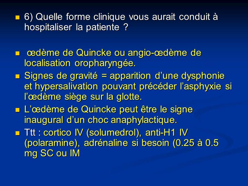 6) Quelle forme clinique vous aurait conduit à hospitaliser la patiente ? 6) Quelle forme clinique vous aurait conduit à hospitaliser la patiente ? œd
