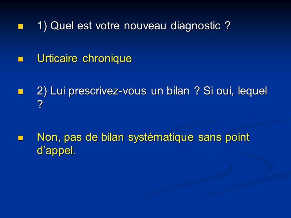 1) Quel est votre nouveau diagnostic ? 1) Quel est votre nouveau diagnostic ? Urticaire chronique Urticaire chronique 2) Lui prescrivez-vous un bilan